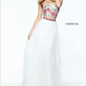 Sherri Hill Dresses 51022 Two Piece White Boho Prom Dress Poshmark